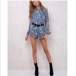 Princess polly open back bell sleeve romper